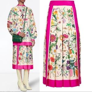 Gucci Fuchsia Flora Foulard Pleated Twill Skirt